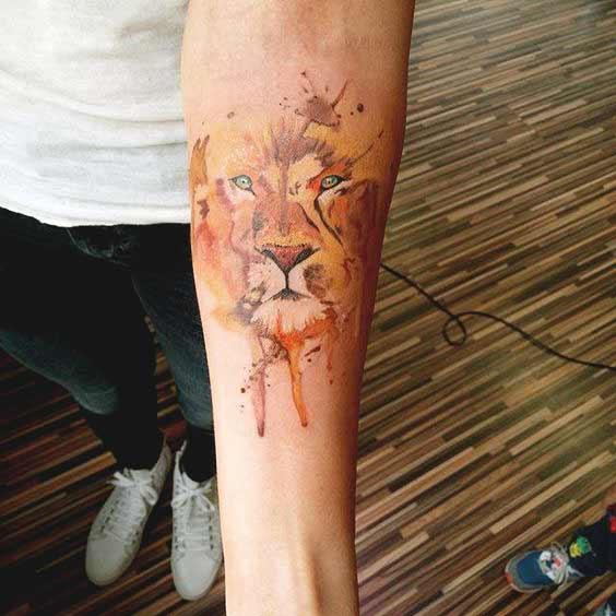 Geometric Lion Face Tattoo Design