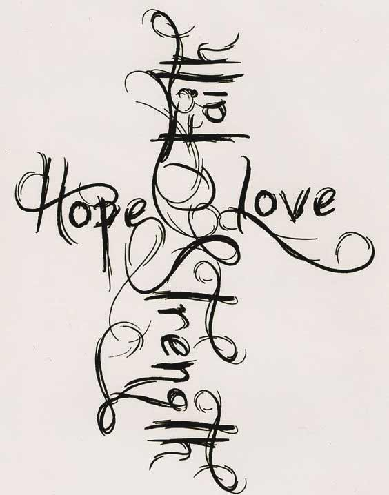 Faith hope love and strength tattoos designs for back and chest