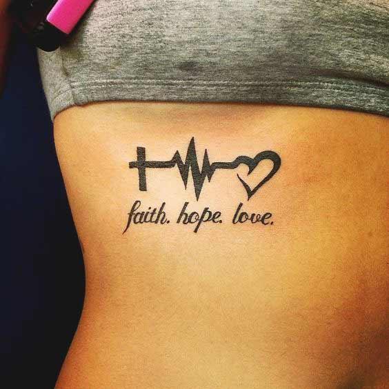 Faith hope love symbol tattoo on rib cage ideas for girls