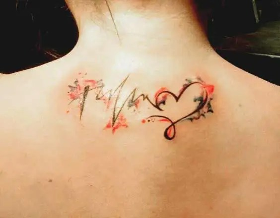 Faith hope and love tattoo symbol behind the neck ideas for girls