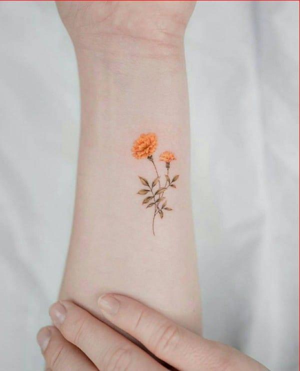 wrist flower tattoos