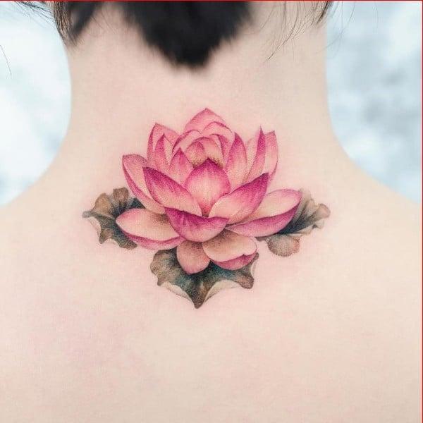 lotus tattoos behind neck