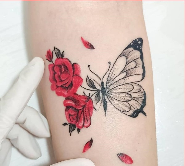 rose with butterfly tattoo ideas