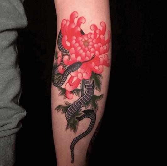 flower japanese snake tattoo
