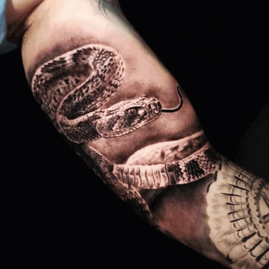 realistic rattlesnake tattoo