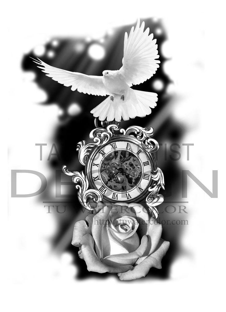 Tattoo Trends Clock And Rose Tattoo Design Tattooviral