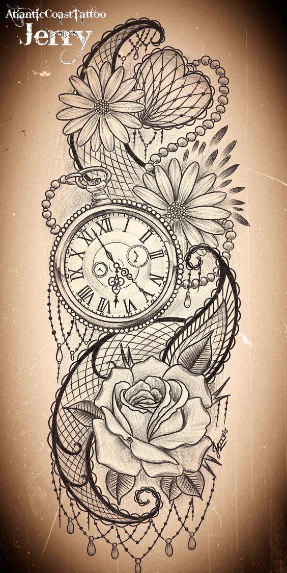 Tatuajes de relojes de bolsillo los mejores dise os - Reloj de diseno pared ...