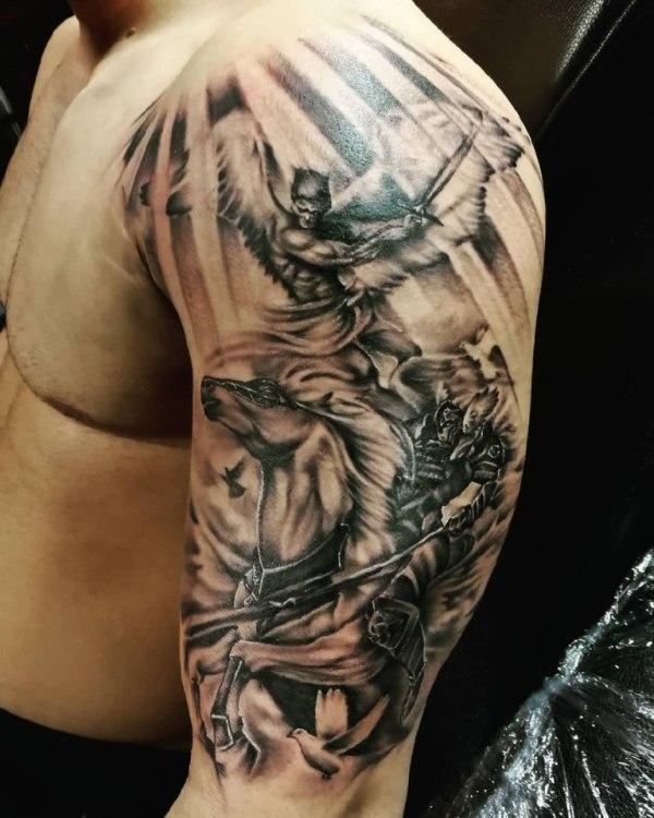 Тату ангел: 24 фото, эскиз, значение, на спине, демон, с ...