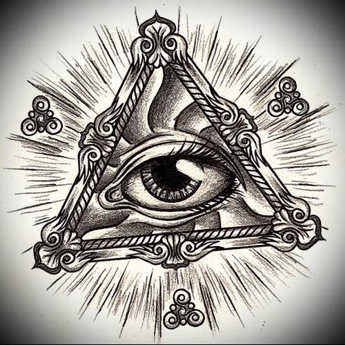 Всевидящее око тату эскиз в треугольнике - tatufoto.com