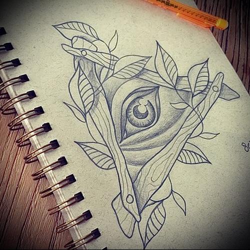Всевидящее око тату эскиз карандашом - tatufoto.com