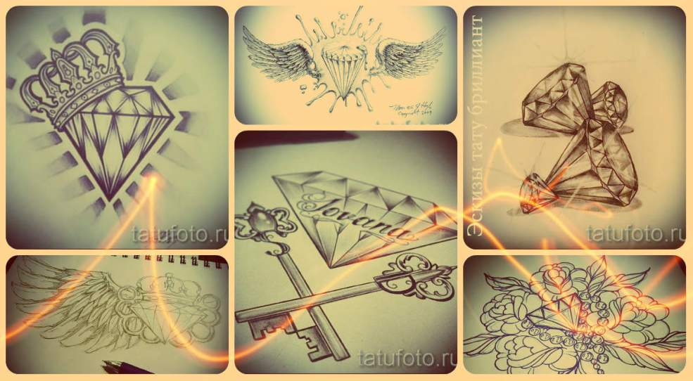 эскизы тату бриллиант лучшие варианты рисунков для татуировки