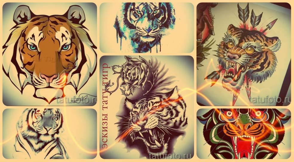 эскизы тату тигр рисунки для формирования идеи татуировки тигр
