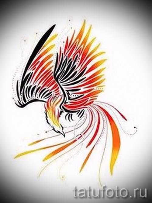 Классный эскиз наколки феникс красивый рисунок для