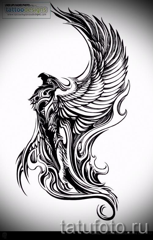 Необычный эскиз татуировки феникс стильный рисунок для