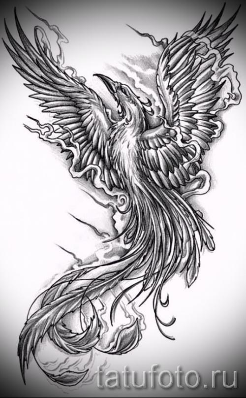 Интересный эскиз татуировки феникс красивый рисунок для