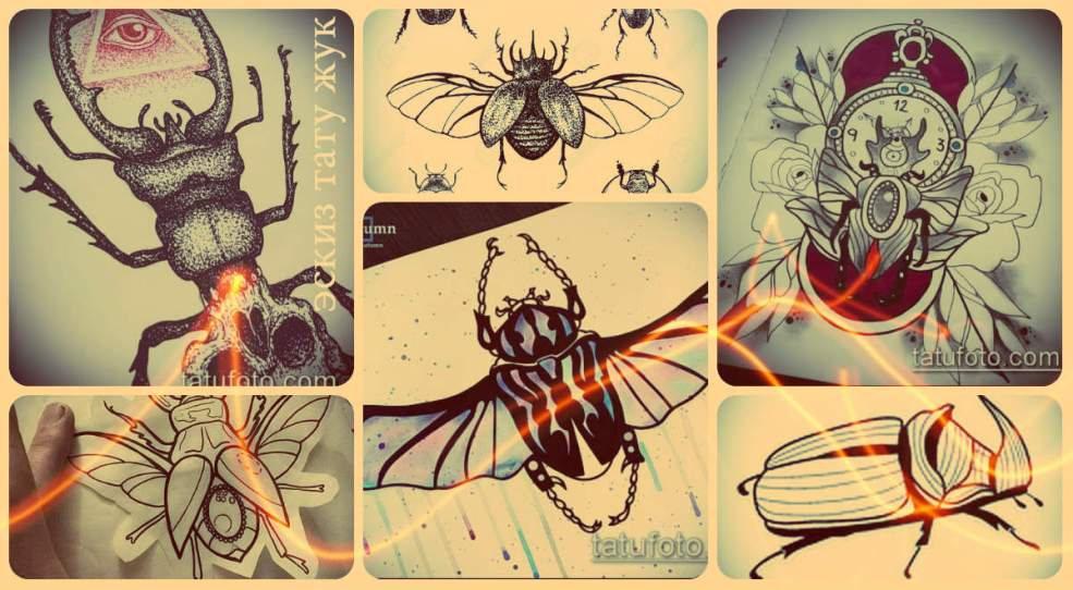 эскизы тату жук крутые рисунки для заметных татуировок с
