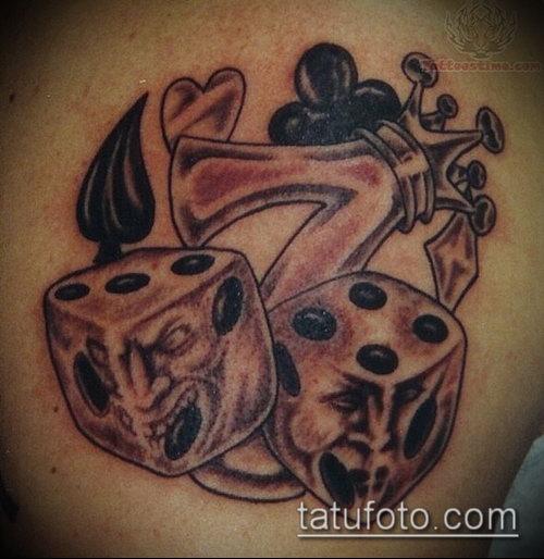 Фото тату игральные кости №446 - крутой вариант рисунка ...