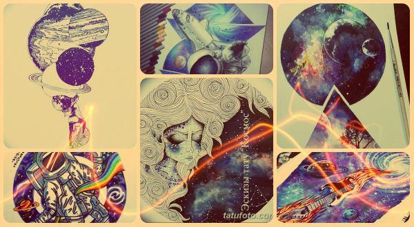 """Эскизы тату """"Космос"""": рисунки для татуировки, значение и фото"""