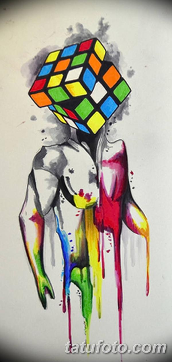 фото тату Кубик Рубика от 24.02.2018 №054 - tattoo Rubik's ...