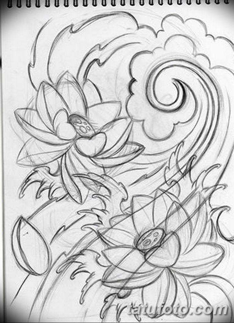 черно белый эскиз тату рисункок лотос 11032019 017 Tattoo