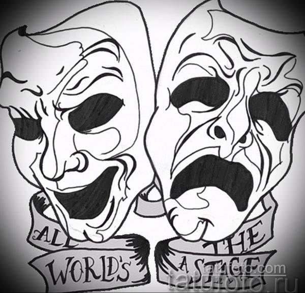 Фото тату маски театральные эскиз 09.09.2019 №002 - tattoo ...