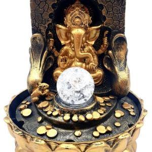 Fontaine Résine Ganesh Doré sur Autel LED 29cm