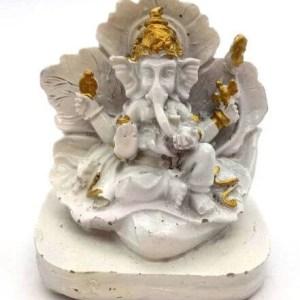 Statue Résine Ganesh sur Feuille Blanc 9cm