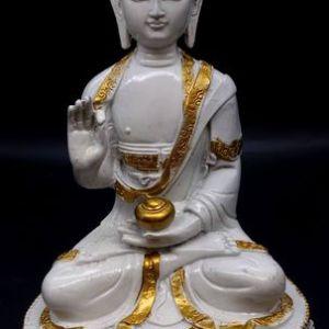 Statue Résine Bouddha Salueur sur Socle Blanc 28cm