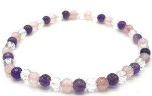 Bracelet Améthyste, Cristal, Quartz Rose perles 4mm