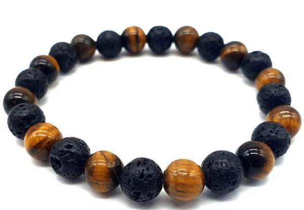 Bracelet Tigre & Lave 1-Mix perles 8mm