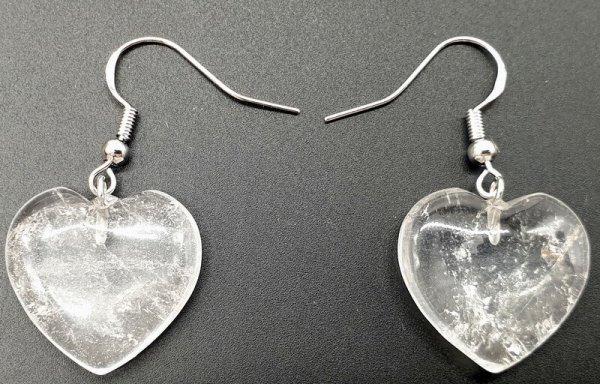 Boucles d'oreilles Coeur Cristal de Roche 4cm
