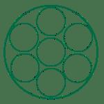 Sju enkla cirkelformationer som visar hur nålarna hos en shader till längre ifrån varandra.