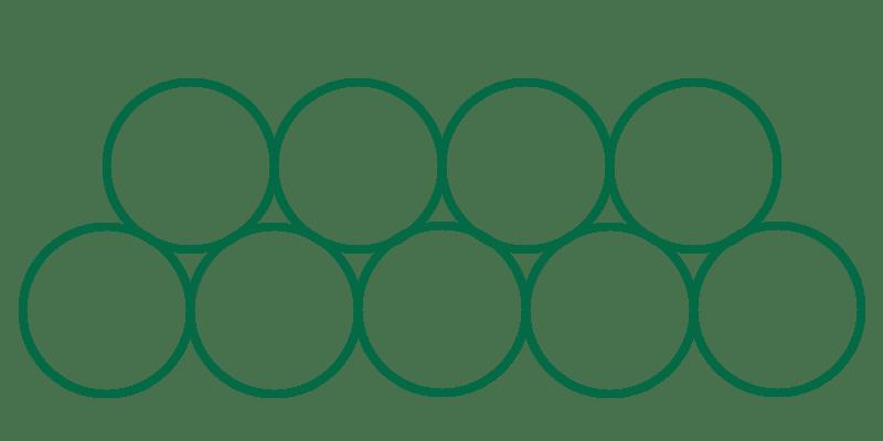 Nio enkla cirkelformationer som visar hur nålarna hos en Stacked Magnum M2 ligger i förhållande till varandra.