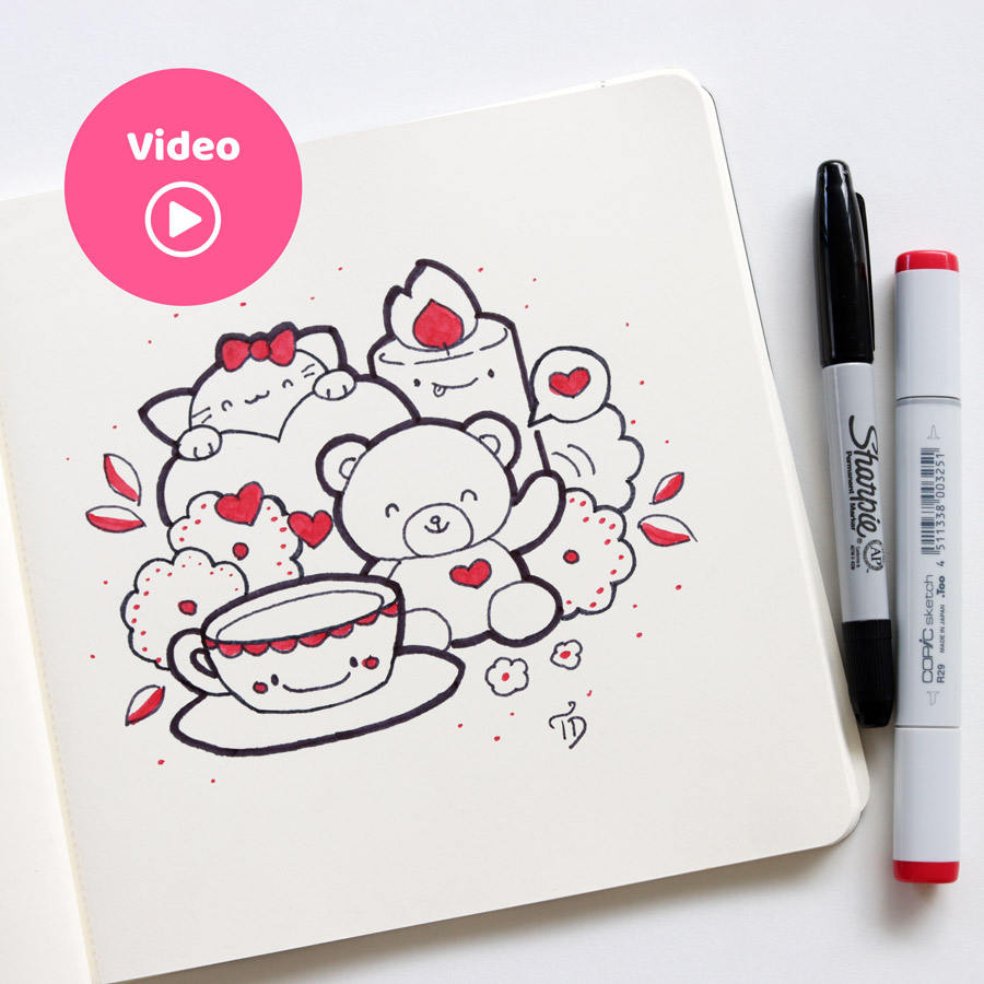 Kawaii Doodle for Valentine's Day