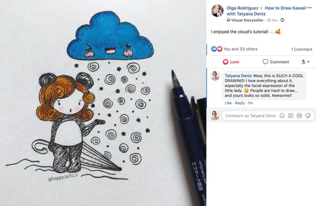 Kawaii drawing by a student of Tatyana Deniz
