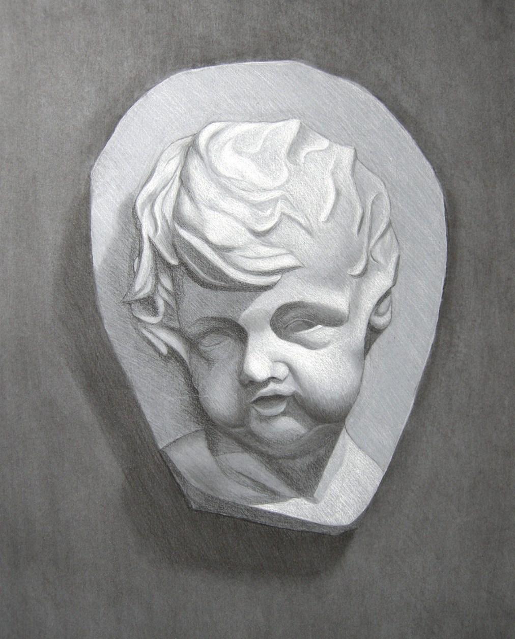 Cherub by Tatyana Deniz, charcoal and chalk on paper, 2011