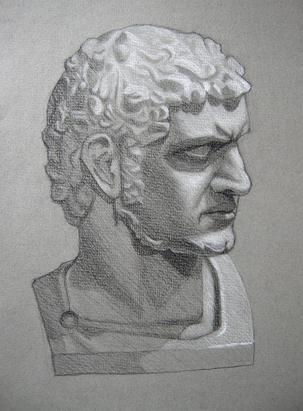 Marcus Aurelius by Tatyana Deniz, charcoal and chalk on paper, 2