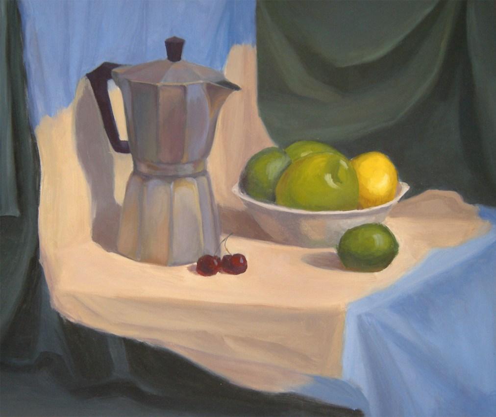 Morning coffee still life by Tatyana Deniz, oil on canvas, 2011