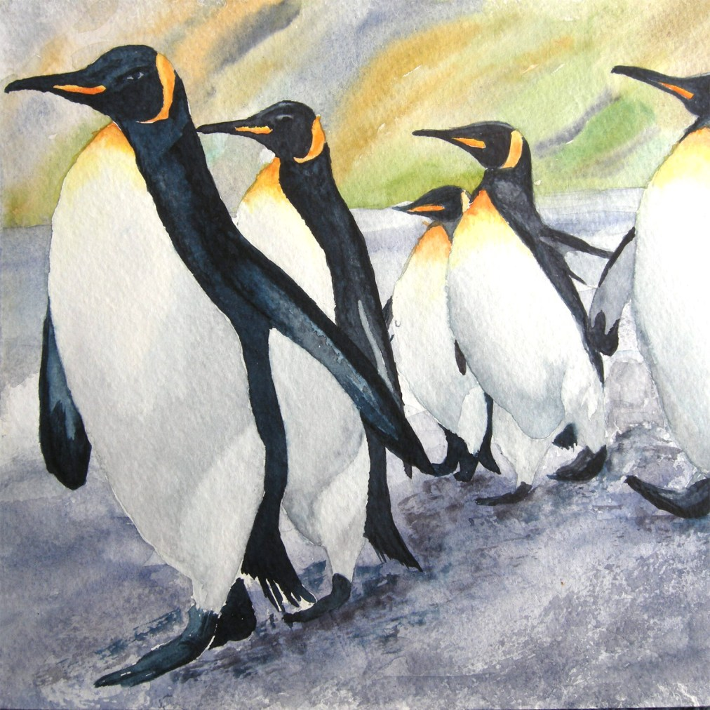 March of penguins by Tatyana Deniz, watercolor on cotton, 2011