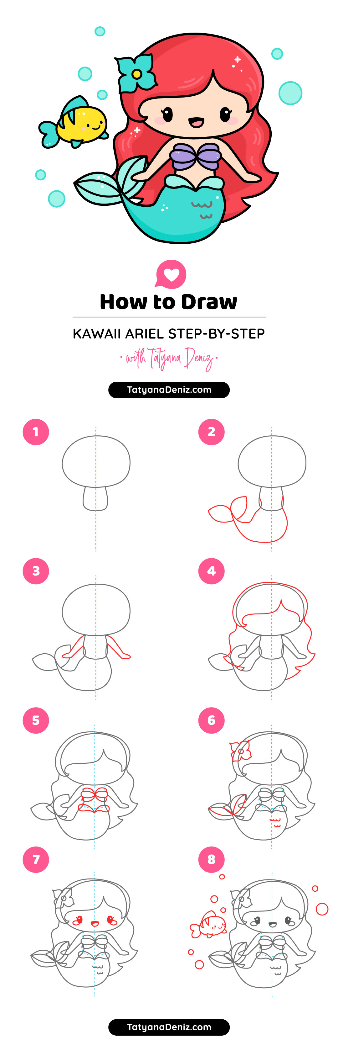 How To Draw Little Mermaid Ariel Cute And Easy Step By Step