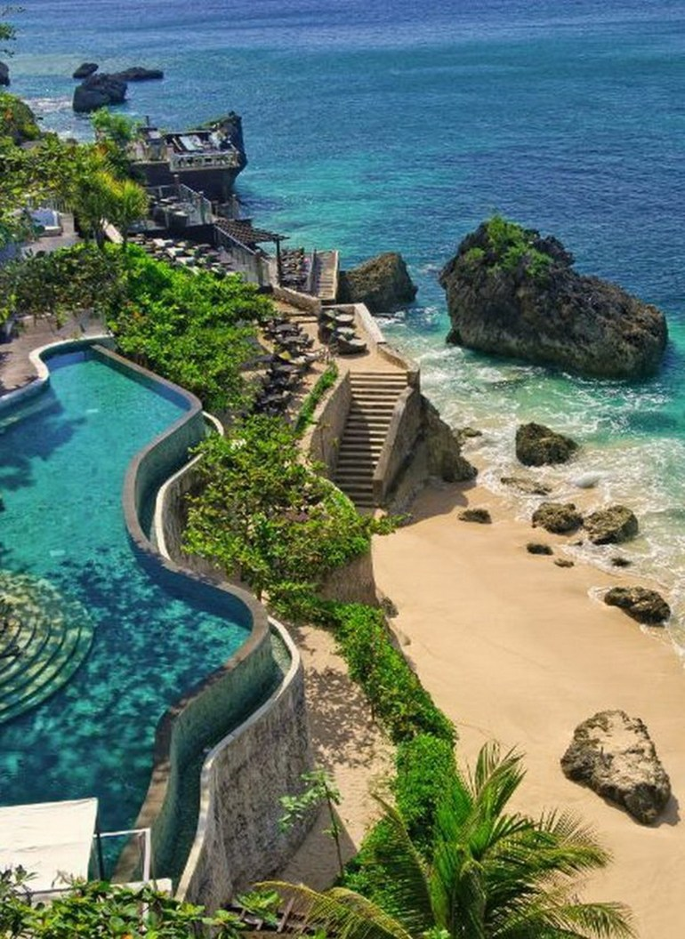 AYANA Resort and Spa Badung Indonesia - Body of water, Coast, Coastal and oceanic landforms, Landscape, Natural landscape, Ocean, Outdoor structure, Rock, Shore, Vegetation, Water