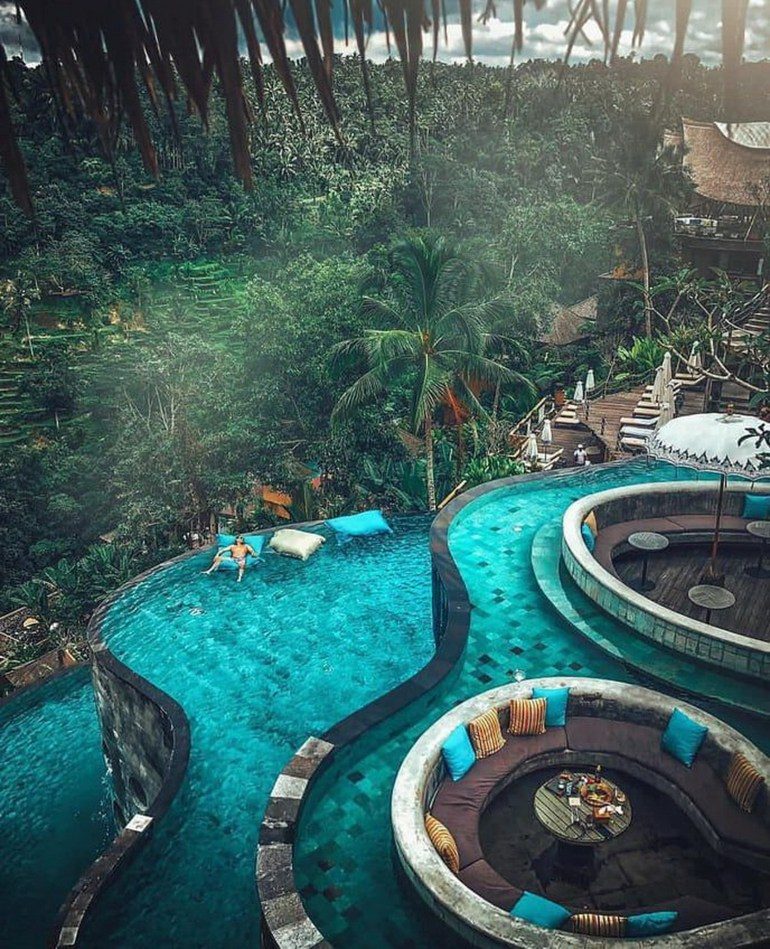 Kayon Jungle Resort Gianyar Indonesia - Aqua, Garden, Hotel, Landscape, Outdoor structure, Resort, Resort town, Swimming pool, Teal, Turquoise, Water, Water feature