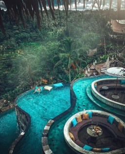 Kayon Jungle Resort, Gianyar Bali Indonesia - Aqua, Garden, Hotel, Landscape, Outdoor structure, Resort, Resort town, Swimming pool, Teal, Turquoise, Water, Water feature