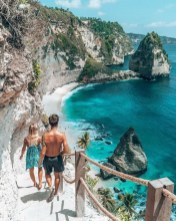 Atuh Beach, Nusa Penida Bali Indonesia - Bay, Body of water, Coast, Coastal and oceanic landforms, Leisure, Outdoor structure, Rock, Summer, Tourism, Vacation, Water