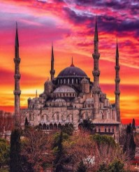 The Blue Mosque, Fatih Istanbul Turkey - Architecture, Byzantine architecture, Dome, Mosque, Night, Sunset