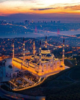 Istanbul, Istanbul Istanbul Turkey - Aerial photography, Cityscape, Evening, Mosque, Night, Sunset