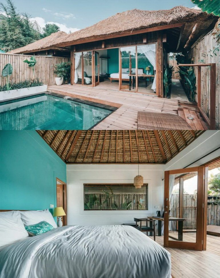 Canggu North Kuta Indonesia - Aqua, Bedding, Home, Linens, Outdoor structure, Property, Real estate, Resort, Swimming pool, Teal, Turquoise, Water