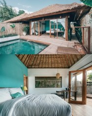 Canggu, North Kuta Bali Indonesia - Aqua, Bedding, Home, Linens, Outdoor structure, Property, Real estate, Resort, Swimming pool, Teal, Turquoise, Water