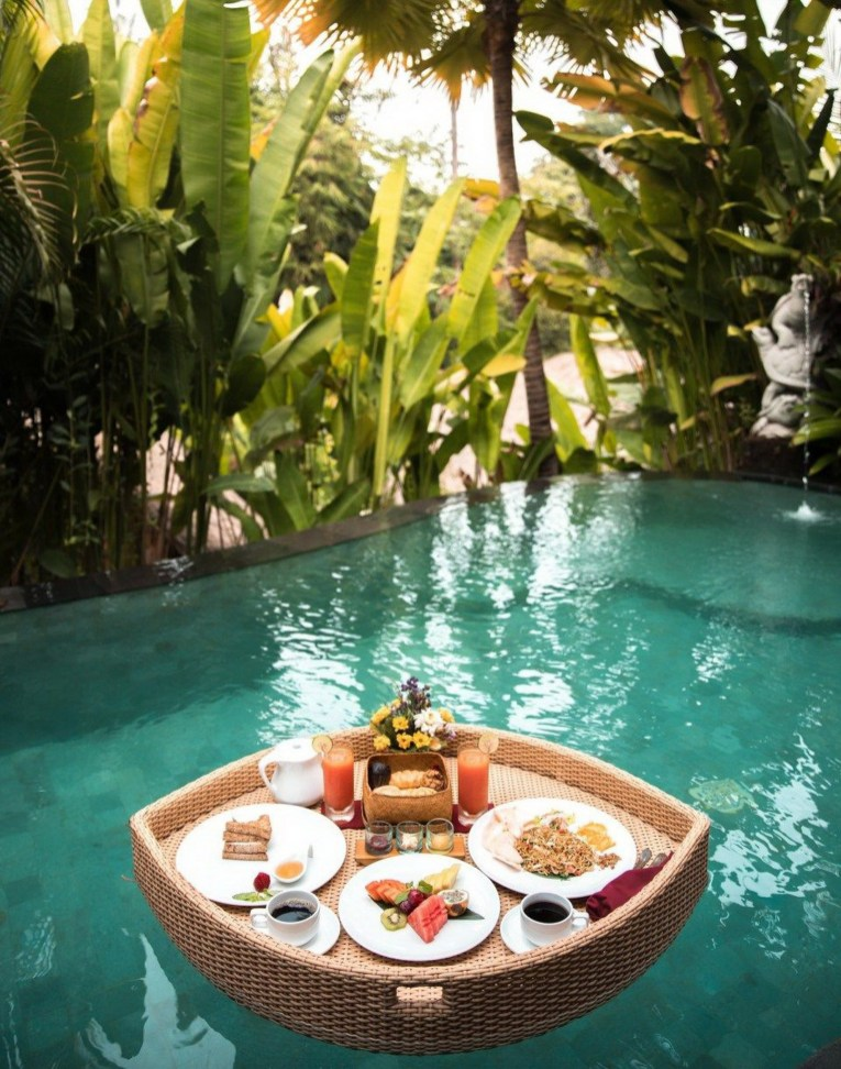 The Udaya Resorts Spa, Ubud Bali Indonesia - Arecales, Cuisine, Dish, Home accessories, Leisure, Outdoor structure, Resort, Serveware, Swimming pool, Tablecloth, Tableware, Water