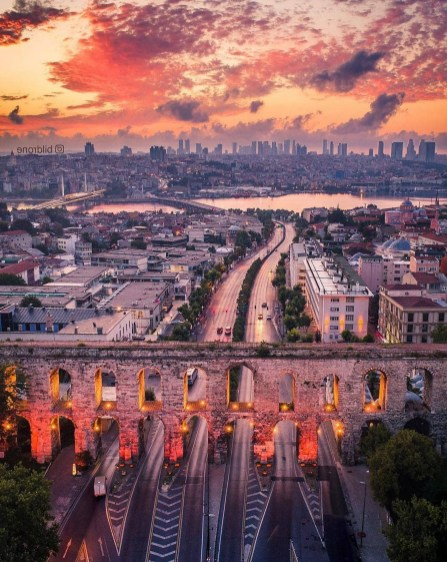 Valens Aqueduct, Fatih Istanbul Turkey - Aerial photography, Afterglow, Atmosphere, Street, Sunset